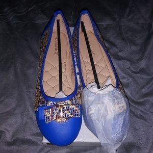 Womens Turqouise Blue Sequins Flats